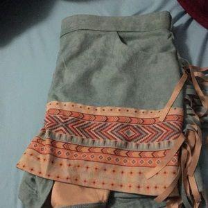 Fringe with Aztec print shorts